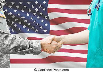 uni, docteur, -, etats, soldat, drapeau, fond, mains secouer