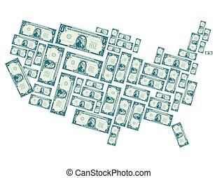 uni, dollar, une, etats, fait, factures, dehors