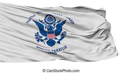 uni, drapeau, isolé, côte, etats, garde, blanc