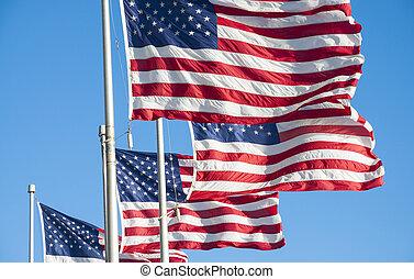 uni, drapeaux, amérique, etats