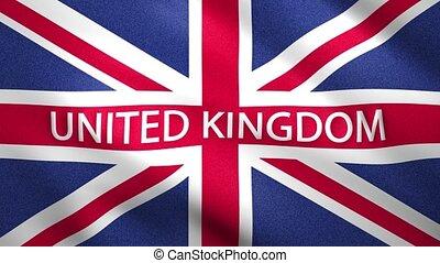 uni, en mouvement, royaume, mouvement, drapeau, lent
