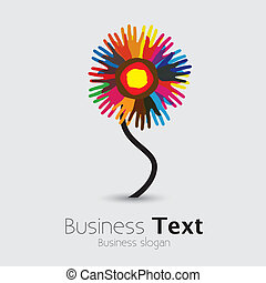 uni, flower-, gens, autre, graphic., communauté, paume,...