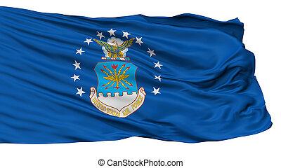 uni, force, drapeau, isolé, air, etats, blanc