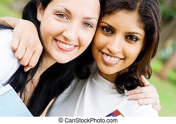 uni friendship - university classmates and friends posing