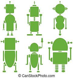 uni, icônes, robots, 2, retro, vendange
