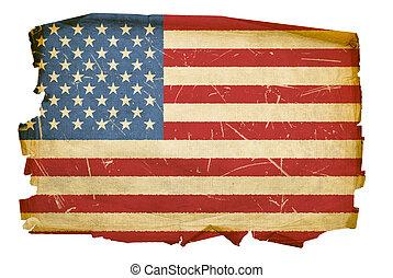 uni, isolé, etats, drapeau, fond, blanc, vieux
