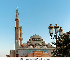 uni, mosquée, arabe, emirats, sharjah, levers de soleil