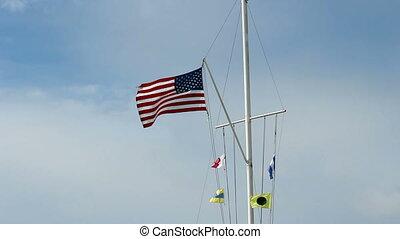uni, nautique, drapeaux, etats