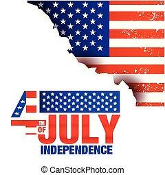 uni, quatrième, stated, image, brulure, vecteur, drapeaux, fond, juillet, indépendance