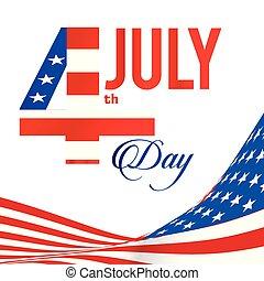 uni, quatrième, stated, image, drapeau, vecteur, fond, juillet