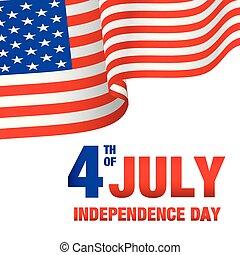 uni, quatrième, stated, image, drapeau, vecteur, fond, juillet, jour, indépendance