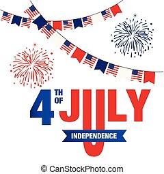 uni, quatrième, stated, image, feux artifice, drapeau, vecteur, fond, juillet, indépendance