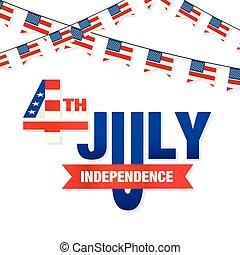 uni, quatrième, stated, image, vecteur, drapeaux, fond, juillet, indépendance