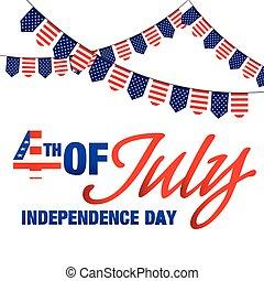 uni, quatrième, stated, image, vecteur, drapeaux, fond, juillet, jour, indépendance