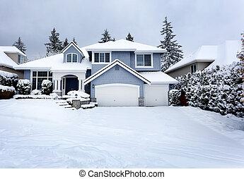 uni, rare, orage, résidentiel, neige, etats, nord-ouest, fond, maison