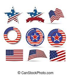 uni, set., etats, amérique, jour, indépendance, icône