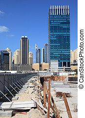 uni, site, arabe, construction, emirats, gratte-ciel, nouveau, dubai