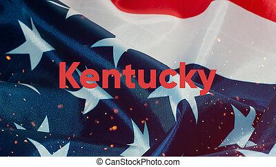 uni, texte, etats, drapeau, kentucky, amérique
