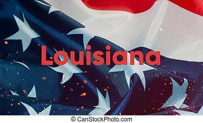 uni, texte, etats, drapeau, louisiane, amérique