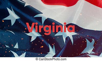 uni, texte, virginie, etats, drapeau, amérique