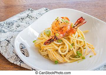 Uni Tobiko Buccatini - Pasta with sea urchin and fish eggs, ...