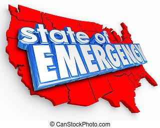 uni, urgence, national, etats, état, mots, amérique, crisi, 3d