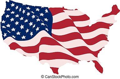 uni, usa, formulaire, etats, cartes, drapeau