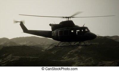 uni, vietnam, etats, lent, hélicoptère, militaire, mouvement