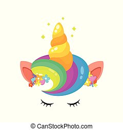 unicórnio, cabelo, arco íris, chifre, cute