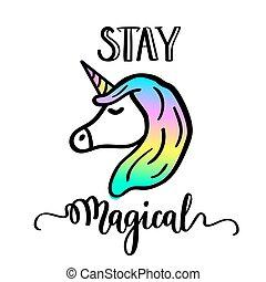 unicórnio, desenho, caricatura, ficar, lettering, mágico