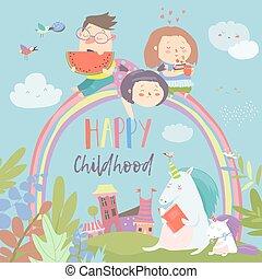 unicórnios, arco íris, crianças, mágico, feliz