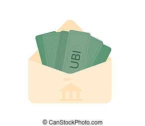 Unic city basic income. Vector flat color concept. - ...