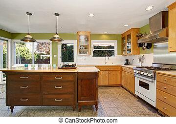 Pareti, cucina verde. Isola, pareti, legno, cucina verde.