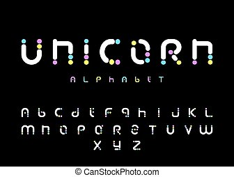 Unicorn alphabet, rainbow font, funny and cute letters, vector illustration.