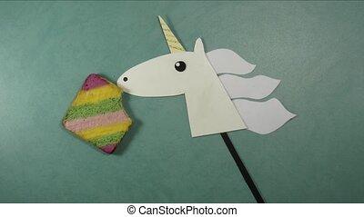 Unicorn eats sweet rainbow cake and became happy sweet vibes cartoon stop motion animation minimal art