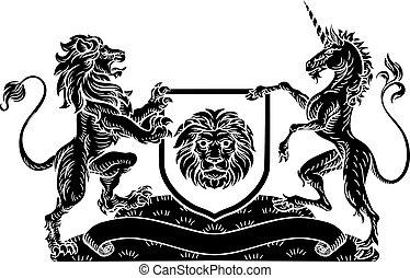 Unicorn and Lion Heraldic Coat of Arms Crest