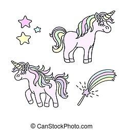 Unicorn and magic wand vector element set