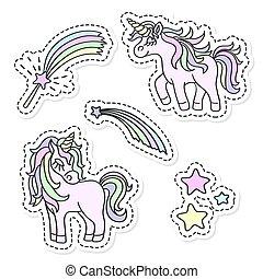 Unicorn and magic wand vector sticker set