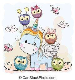 Cute Cartoon Unicorn five owls and butterflies