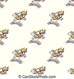 unicorn and rainbow, horse with horn seamless pattern