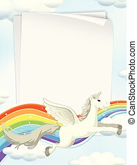 Unicorn and Rainbow on Sky Template
