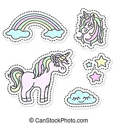 Unicorn and rainbow vector sticker set