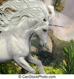 A beautiful white unicorn prances with its wild mane flowing and muscles shining.