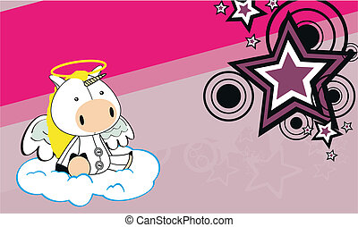unicorn angel cartoon background  in vector format