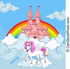 Unicorn at sky castle bright rainbow background
