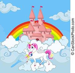Unicorn at sky castle rainbow princess fairytale