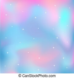 Unicorn background. Fairytale starry holographic sky. Magic galaxy.