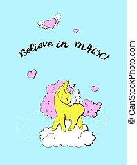 Unicorn Birthday Party Invitation. Vector illustration.