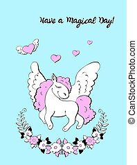 Unicorn Birthday Party Invitation. Vector illustration.