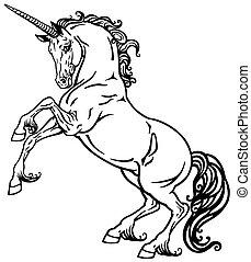 unicorn black and white - rearing unicorn mythical horse. ...